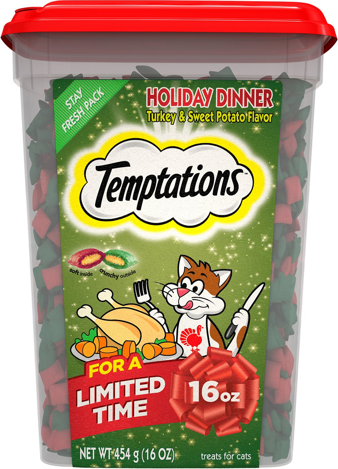 Temptations Holiday Dinner Cat Treats, 16-oz tub - Chewy.com