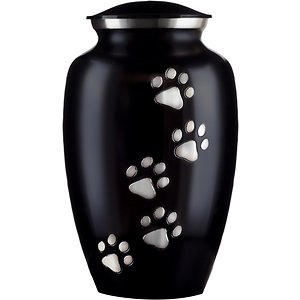 Best Friend Services Ottillie Paws Slate Vertical Print Dog & Cat Urn, Ebony with Pewter Paws, Small