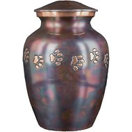 Best Friend Services Classic Paws Series Horizontal Print Dog & Cat Urn, Medium, Raku & Brass
