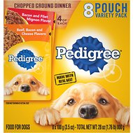 Pedigree Chopped Ground Dinner Variety Pack Featuring Bacon Wet Dog Food, 3.5-oz, case of 8