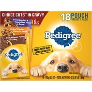 Pedigree Choice Cuts Variety Pack With Beef, Chicken & Filet Mignon Wet Dog Food, 3.5-oz, case of 18