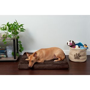FurHaven Snuggle Deluxe Orthopedic Pillow Cat & Dog Bed w/Removable Cover, Espresso, Medium; Give your pal the restful sleep he deserves with the FurHaven Snuggle Terry & Suede Deluxe Orthopedic Dog & Cat Bed. It has medical-grade orthopedic foam that's shaped in an egg-crate style to provide support, cushion, and evenly distribute your pal's weight, alleviating painful pressure on muscles and joints. Thanks to the snuggly terry fleece sleeping surface, it's ultra-soft on paws and cuddly noses. And to keep your pal comfy every season, the foam also insulates him by staying warm through chilly nights, and keeping its cool when the temperature goes up. Older or disabled pets will love the easy step-on design that makes it effortless to lay down. And when it's time to clean, just unzip and machine-wash the cover and core, and simply wipe down the water-resistant base. Plus, it's available in different sizes and shades so you can find the best one for your pet.