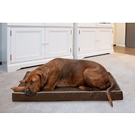 FurHaven Indoor & Outdoor Deluxe Solid Orthopedic Mat Dog & Cat Bed, Espresso with Cream Trim, Large