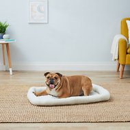 FurHaven Faux Sheepskin Bolster Dog & Cat Bed, Cream, Large