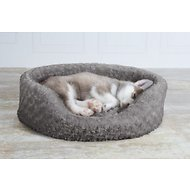 FurHaven Ultra Plush Oval Dog & Cat Bed, Gray, Medium