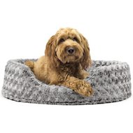 FurHaven Ultra Plush Oval Dog & Cat Bed, Large, Gray