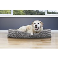 FurHaven Ultra Plush Oval Dog & Cat Bed, Jumbo, Gray