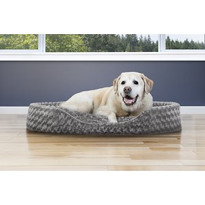 FurHaven Ultra Plush Oval Dog & Cat Bed, Gray, Jumbo; Give your pal the beauty sleep he needs with the FurHaven Ultra Plush Oval Dog & Cat Bed. Designed for pets who like to curl-up in comfort, this oval-shaped, nest-style bed features comfy walls to support your pal's hips and back, a tufted, fiber-filled insert pillow cushion, and an ultra-soft surface. Your pal will nap and snooze happy with its snuggle-friendly design and step-in cut out that makes it easy for him to get in and out. And cleaning it is a cinch―just remove and machine wash the zippered cover, and hand-wash the foam core.  You can also take out the insert pillow for easy, daily clean-up as often as you need. Plus, it's available in different colors and sizes to find the go-to bed for your pet.