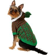 Blueberry Pet Snowflake Dog & Cat Sweater, Green, 10-in
