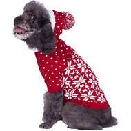 "Blueberry Pet Snowflake Dog Sweater, Back Length 12"", Red"