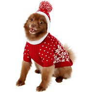 Blueberry Pet Snowflake Dog & Cat Sweater, Red, 14-in