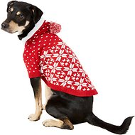"Blueberry Pet Snowflake Dog Sweater, Back Length 16"", Red"
