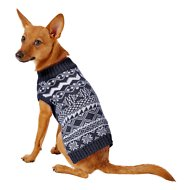 Blueberry Pet Tinsel Knit Fair Isle Dog & Cat Sweater, Midnight Blue, 10-in