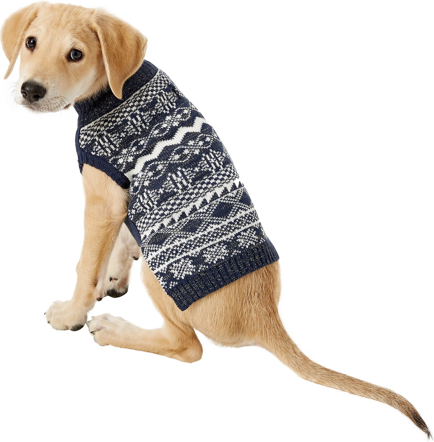 Blueberry Pet Tinsel Knit Fair Isle Dog & Cat Sweater, 12-inch ...