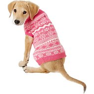 "Blueberry Pet Tinsel Knit Fair Isle Dog Sweater, Back Length 12"", Hollywood Cerise"