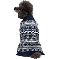 "Blueberry Pet Tinsel Knit Fair Isle Dog Sweater, Back Length 14"", Midnight Blue"