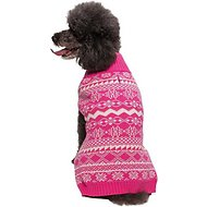 Blueberry Pet Tinsel Knit Fair Isle Dog & Cat Sweater, Hollywood Cerise, 14-in
