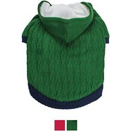 Blueberry Pet Knitted Twist Cable Dog Hoodie, Sea Green, 10-in