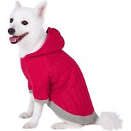 Blueberry Pet Knitted Twist Cable Dog Hoodie, Raspberry, 14-in