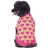 Blueberry Pet Cutie Pink Hearts V-neck Dog & Cat Sweater, 12-in