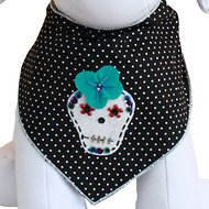Tail Trends Dia De Los Muertos Dog Bandana, Medium