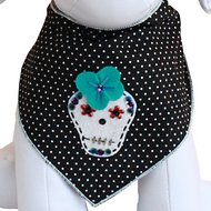 Tail Trends Dia De Los Muertos Dog Bandana, Large