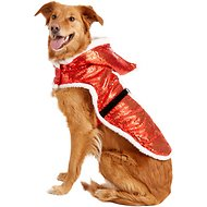 Zack & Zoey Sparkle Sequin Velvet Santa Dog Coat, X-Large
