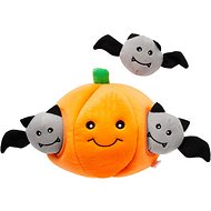 ZippyPaws Burrow Squeaky Hide and Seek Plush Dog Toy, Halloween Pumpkin