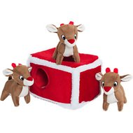 ZippyPaws Burrow Squeaky Hide and Seek Plush Dog Toy, Reindeer Pen