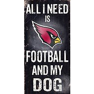 "Fan Creations ""All I Need is Football and My Dog"" NFL Wood Sign, Arizona Cardinals"