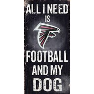 "Fan Creations ""All I Need is Football and My Dog"" NFL Wood Sign, Atlanta Falcons"