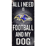 "Fan Creations ""All I Need is Football and My Dog"" NFL Wood Sign, Baltimore Ravens"