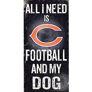 "Fan Creations ""All I Need is Football and My Dog"" NFL Wood Sign, Chicago Bears"