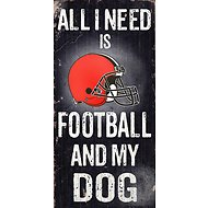 "Fan Creations ""All I Need is Football and My Dog"" NFL Wood Sign, Cleveland Browns"