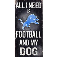 "Fan Creations ""All I Need is Football and My Dog"" NFL Wood Sign, Detroit Lions"