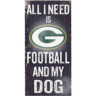 "Fan Creations ""All I Need is Football and My Dog"" NFL Wood Sign, Green Bay Packers"