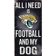 "Fan Creations ""All I Need is Football and My Dog"" NFL Wood Sign, Jacksonville Jaguars"