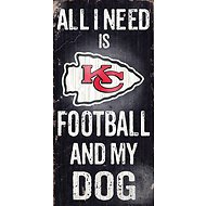 "Fan Creations ""All I Need is Football and My Dog"" NFL Wood Sign, Kansas City Chiefs"