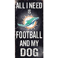 "Fan Creations ""All I Need is Football and My Dog"" NFL Wood Sign, Miami Dolphins"