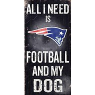 "Fan Creations ""All I Need is Football and My Dog"" NFL Wood Sign, New England Patriots"