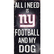 "Fan Creations ""All I Need is Football and My Dog"" NFL Wood Sign, New York Giants"