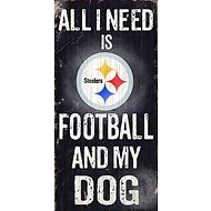 "Fan Creations ""All I Need is Football and My Dog"" NFL Wood Sign, Pittsburgh Steelers"