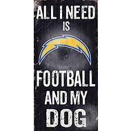 "Fan Creations ""All I Need is Football and My Dog"" NFL Wood Sign, San Diego Chargers"