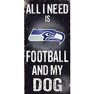 "Fan Creations ""All I Need is Football and My Dog"" NFL Wood Sign, Seattle Seahawks"