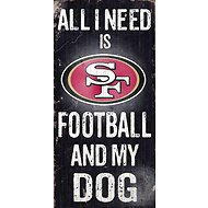 "Fan Creations ""All I Need is Football and My Dog"" NFL Wood Sign, San Francisco 49ers"