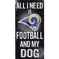 "Fan Creations ""All I Need is Football and My Dog"" NFL Wood Sign, Los Angeles Rams"
