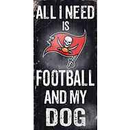 "Fan Creations ""All I Need is Football and My Dog"" NFL Wood Sign, Tampa Bay Buccaneers"
