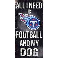 "Fan Creations ""All I Need is Football and My Dog"" NFL Wood Sign, Tennessee Titans"