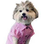Dog Threads Raspberry Gingham Dog Shirt, Medium
