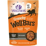 Wellness Crunchy WellBars Halloween Pumpkin Grain-Free Dog Treats, 8-oz bag